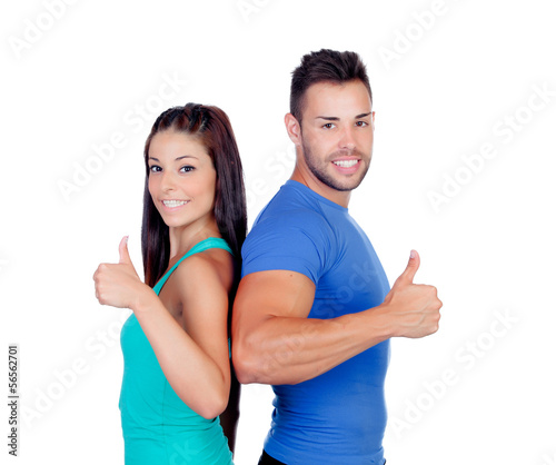 Couple of fitness friends saying Ok