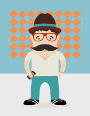 hipster guy with hat ans glasses