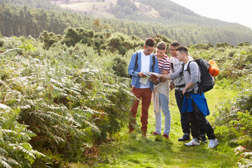 Group Of Young Men On Camping Trip In Countryside