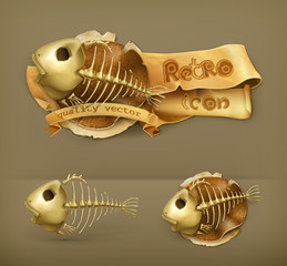 Fish skeleton icon