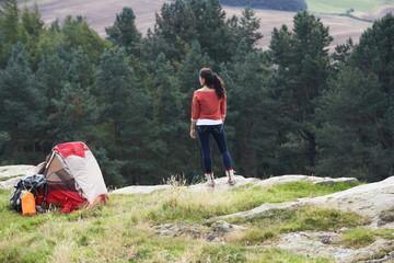 Teenage Girl On Camping Trip In Countryside