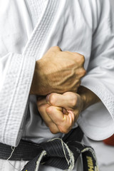 Closeup of karate hands
