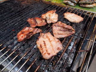 Pork grilled on charcoal (Thai style food)