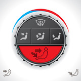 Multifunctional car clima control with red display poster