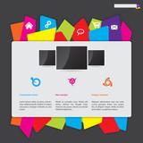 Website design with color paper label button bar