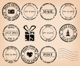 vector set - black grungy post stamps