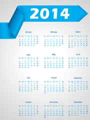 Blue ribbon calendar design for 2014