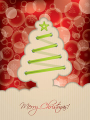 Red christmas card with tree shoelace