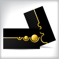 Dark business card dsign with gold shapes