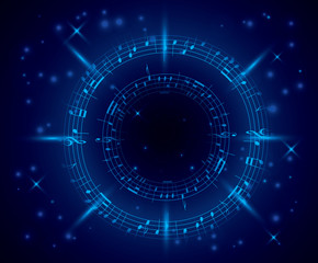 abstract dark blue music background with notes - vector