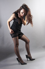 attractive young woman wears pantyhose
