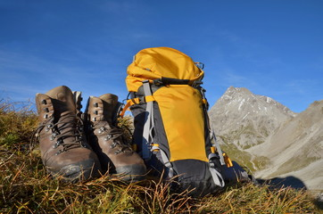 Bergschuhe, Rucksack, Berge, Wandern