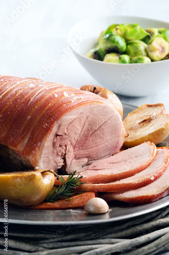 Pork roast with roasted vegetables