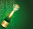 2014 festive Champagne on green background.