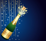 2014 festive Champagne on blue background.