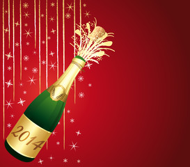 2014 festive Champagne on red background.