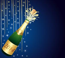 2014 festive Champagne on blue background.