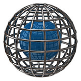 Blue globe with meridians and parallels poster