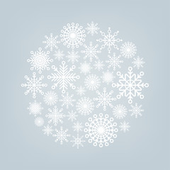 Christmas ball of snowflakes on a background