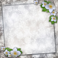 spring flowers on old paper background