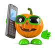 Pumpkin chats on a mobile phone
