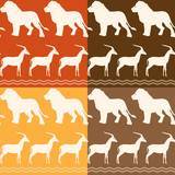 Set of seamless patterns with lion and gazelle