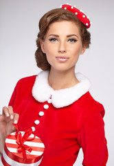 Vintage girl wearing santa claus clothes