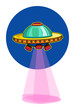 Cartoon colorful alien space ship, with pink beams