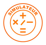 simulateur sur bouton web rond orange