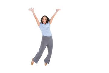Cheerful classy businesswoman jumping