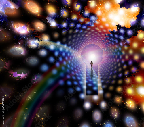 Man before giant keyhole in space abstract