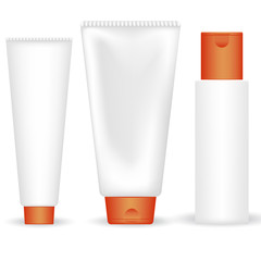 Set of vector cosmetic tubes