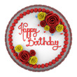 top view of round birthday cake with candles on dish isolated on