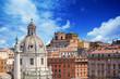 view of colonna Traiana and basilica Ulpija. Rome. Italy.