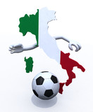 Italy map play soccer