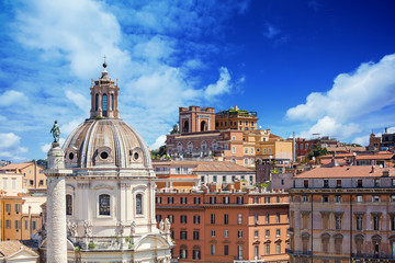 view of colonna Traiana and basilica Ulpija. Rome. Italy.
