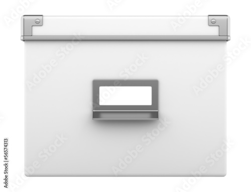single office cardboard box isolated on white background