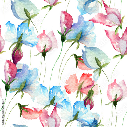 Plakat Seamless wallpaper with Sweet pea flowers