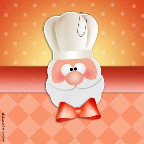 Santa Claus with chef's hat for Christmas dinner