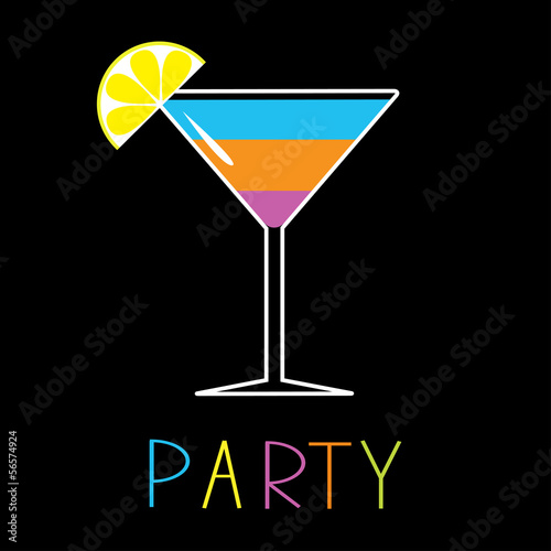 Colorful cocktail in martini glass. Party. Card.