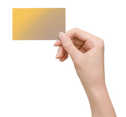 Hands hold business cards on white background with clipping path