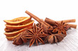 christmas decoration: orange, cinnamon and star anise