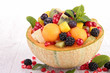 fruit salad with melon,blackberries,pomegranate and mango