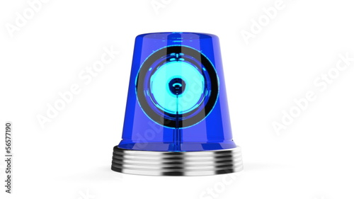 Blue flashlight on white background