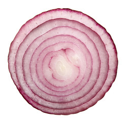 slice of red onion isolated on white background