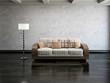 Sofa and lamp