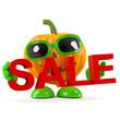 Pumpkin holds a Halloween Sale