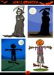 Halloween Cartoon Creepy Themes Set