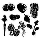 Black isolated vegetables icons, vector silhouettes