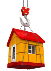 Crane raises House (clipping path included)